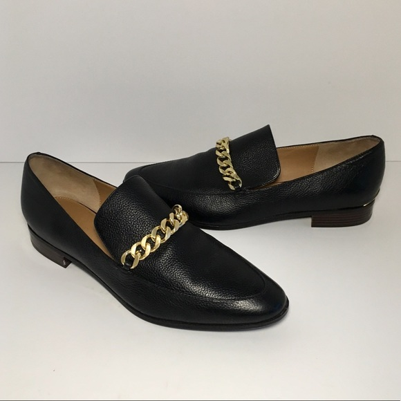 Calvin Klein Gold Chain Black Loafers